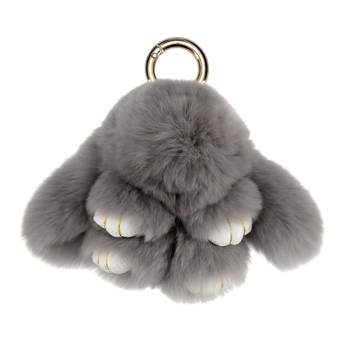 FUR RABBIT KEYCHAIN // DARK GREY