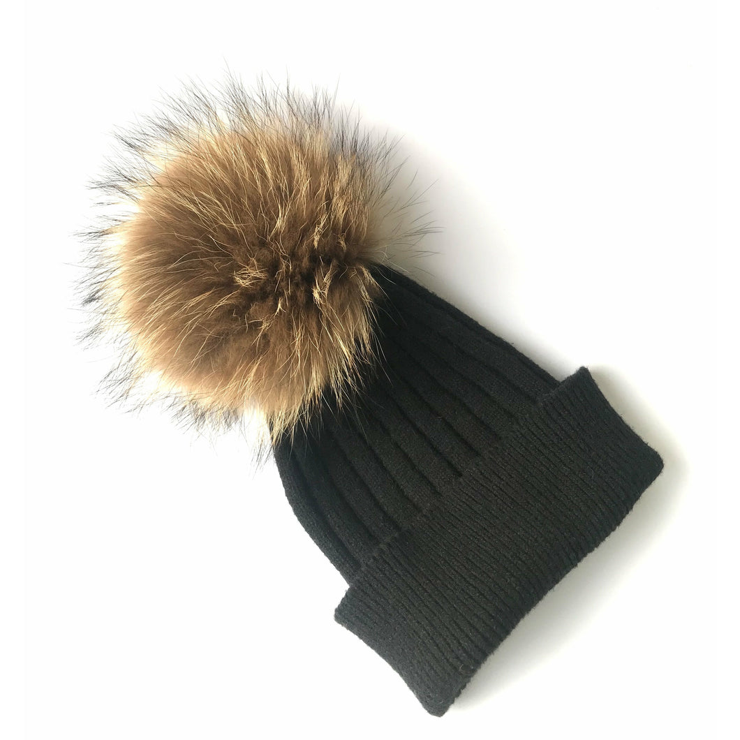 Knitted Hat // Black - LHS fur