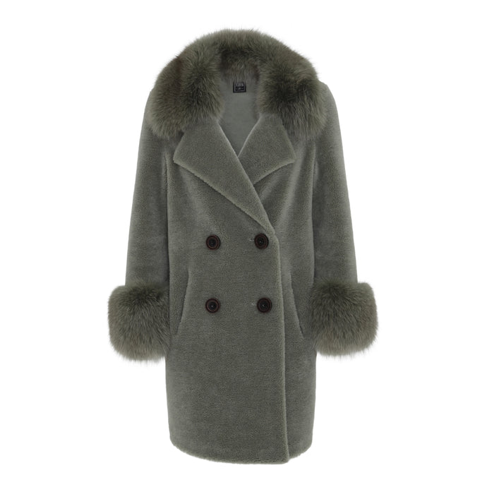 'TEDDY' COAT // DUSTY GREEN