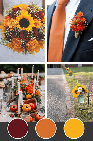 10-Fall-Wedding-Colors_Raspberry Orange Sunflower