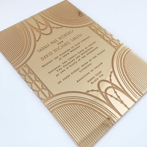 Acrylic Gold Gatsby Wedding Invitation_by Aedesigns