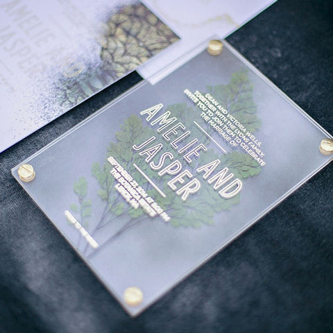 Acrylic Wedding Invitation with Leaf_via Southern California Bride