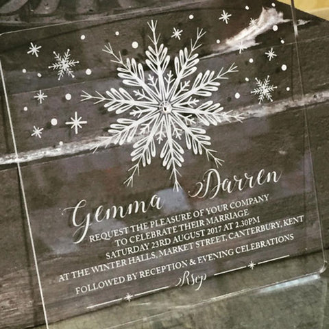Clear Acrylic Winter Wedding Invitations by Elite Invite