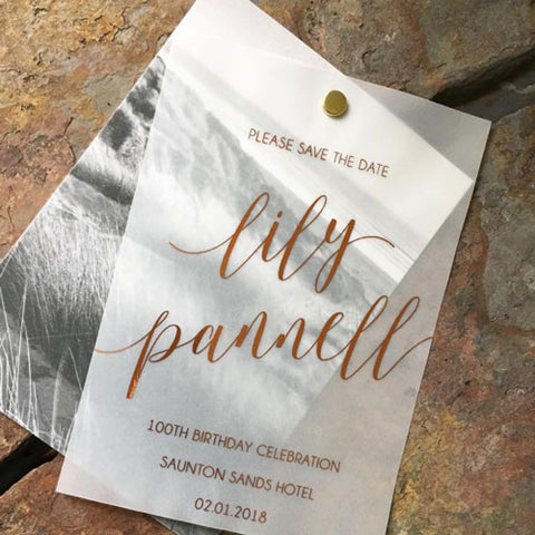 Copper Foil on Vellum Invitation-by Lily and Jack Paper Studio