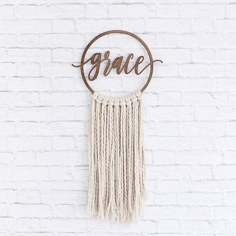 Custom Macrame Hanging with Hoop and Laser Cut Wording by the Duo Studio