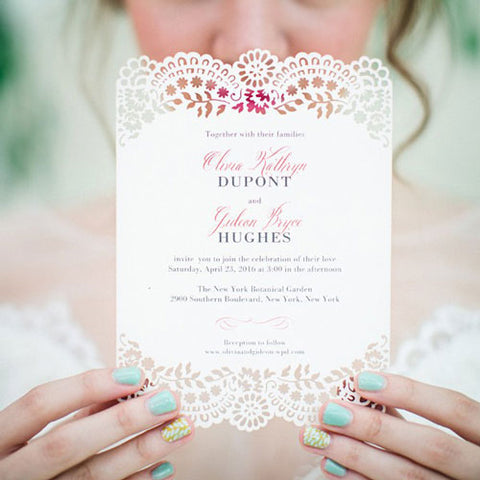 Floral Laser Cut Wedding Invitation by Wedding Paper Divas