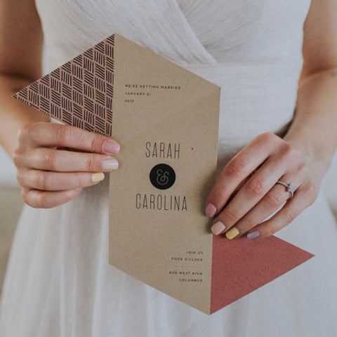 Folding Geometric Wedding Invitation by Cheer Up Letterpress
