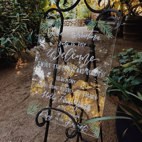 Hand Drawn Acrylic Wedding Sign by Louie and Lefty
