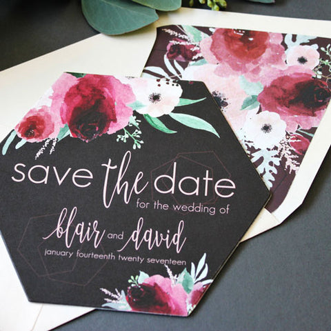 Hexagon Shape Save the Date Card by Funky Olive
