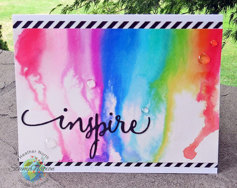 Inspire handmade rainbow watercolor greeting card