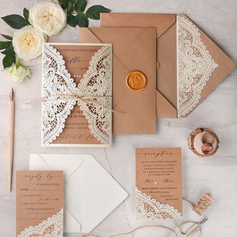 Ivory and Kraft Laser Cut Wedding Invitation Suite by 4lovepolkadot