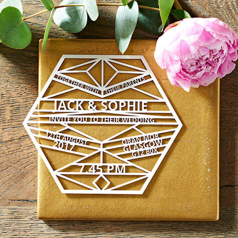 Laser Cut Geometric Wedding Invitation by LauraMillustration