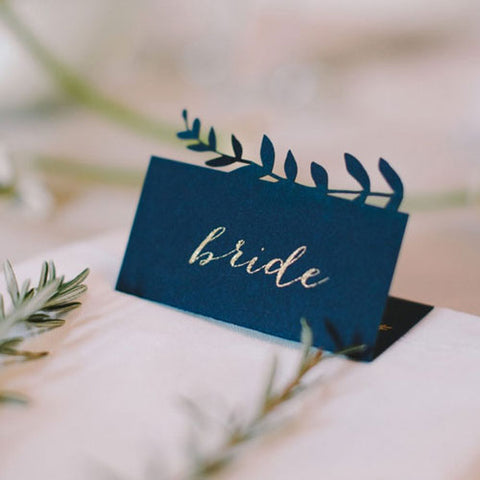 Navy Laser Cut Wedding Place Cards by Lezannes Designs