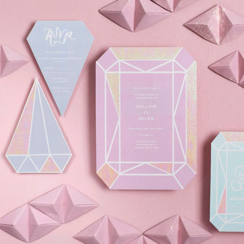Pastel Gemstone and Diamond Shape Wedding Invitation Set by BerinMade