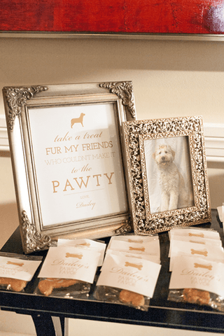 Picture frame with photo of pet dog and dog treat wedding favors