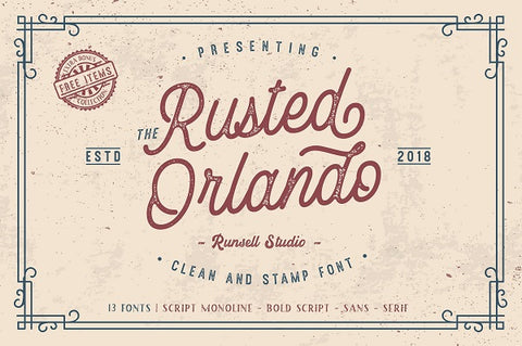 Rusted Orlando Textured Vintage Font Family