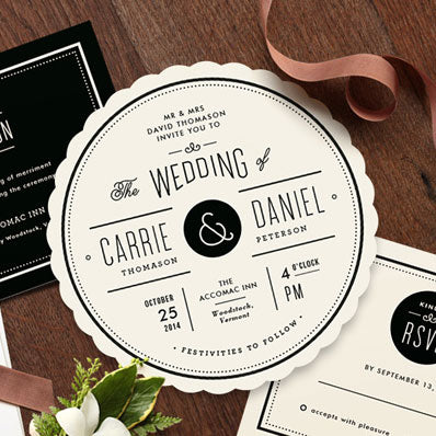 Scalloped Circle Wedding Invitation by Minted