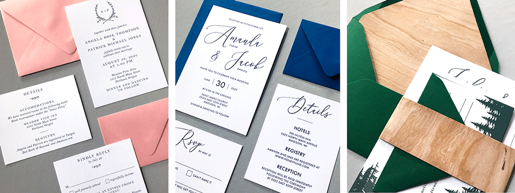 Semi-Custom-Wedding-Suites-Web-Banner-with-Ophelia-Suite-in-White-and-Pink-and-Cressida-Suite-with-Blue-Envelopes-and-Aurora-Suite-with-Wood-Envelope-Liner