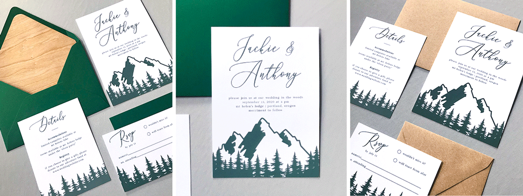 The Aurora Suite Web Banner - Semi Custom Wedding Invitation Collection with Green Trees and Mountains