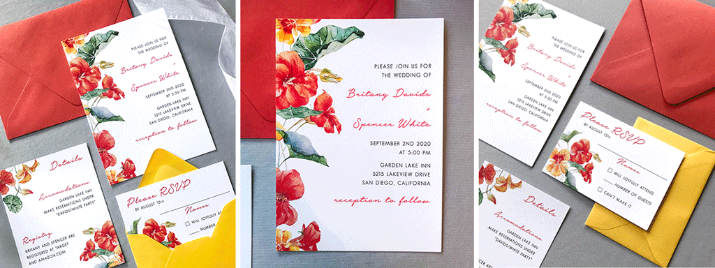 The Bianca Suite Web Banner - Wedding Stationery Collection with Orange and Yellow Watercolor Flowers