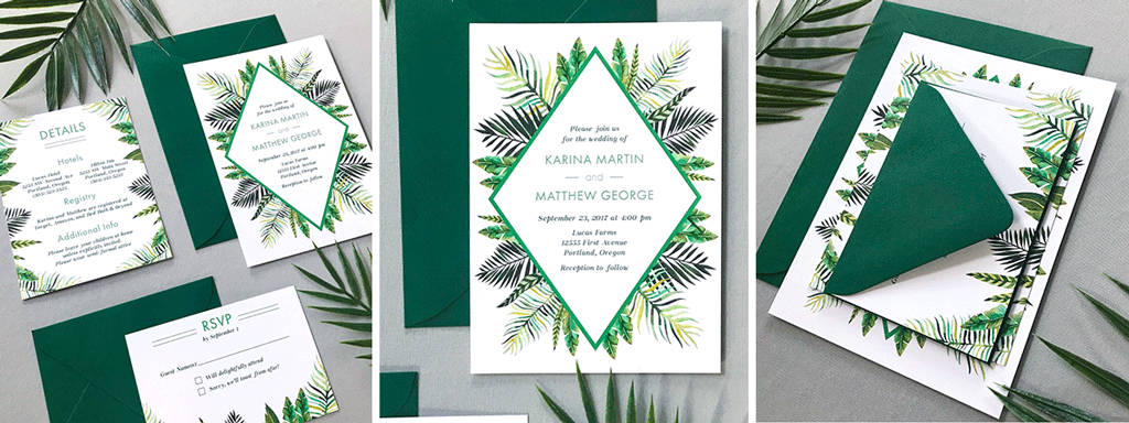The Callisto Suite Web Banner - Semi-Custom Wedding Collection with Tropical Palm Leaves