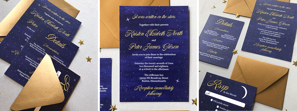 The Luna Suite Web Banner Navy Blue and Gold Wedding Stationery Collection