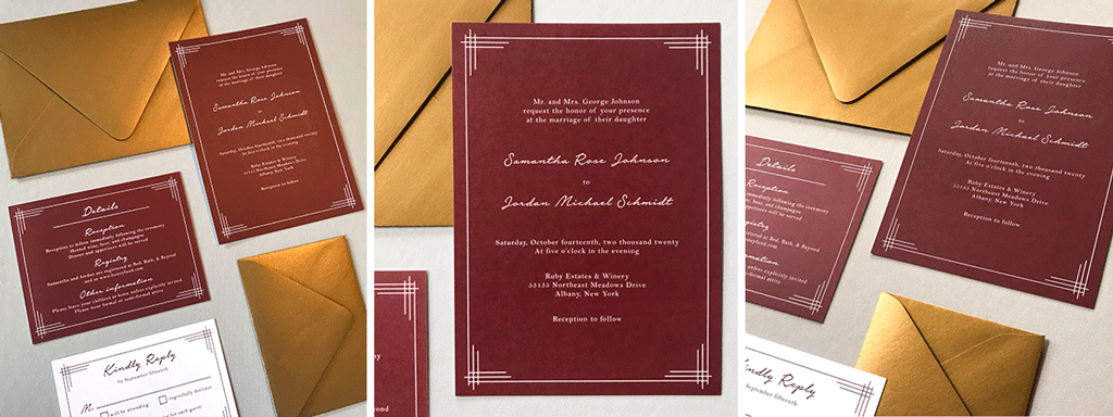 The Titania Suite Web Banner - Semi-Custom Wedding Invitation Collection with Classic Lined Borders - Shown in Dark Red and Gold