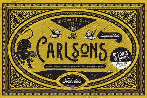 The Carlsons Vintage Layered Font Bundle