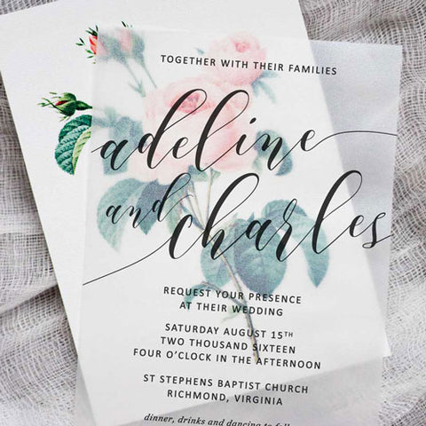 Vellum Floral Wedding Invitation-via Pipkin Paper Company