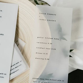 Vellum Wedding Menu via  Whitemag Photo by Marisa Albrecht