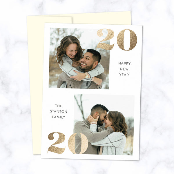 Gold Foil Pressed 2020 New Year Photo Cards with Two Photos and Family Name - Custom Printed Cards with Cream Envelopes