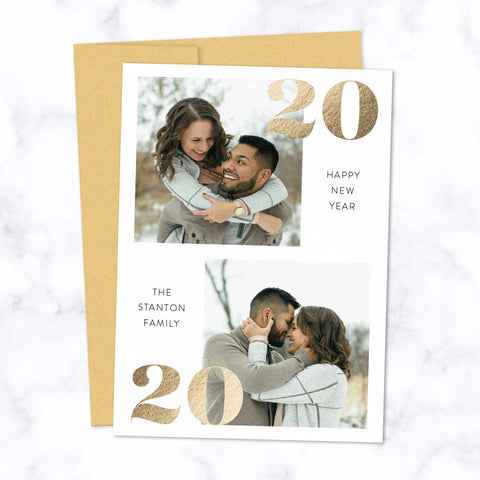 Gold Foil Pressed 2020 New Year Photo Cards with Two Photos and Family Name - Custom Printed Cards with Gold Envelopes