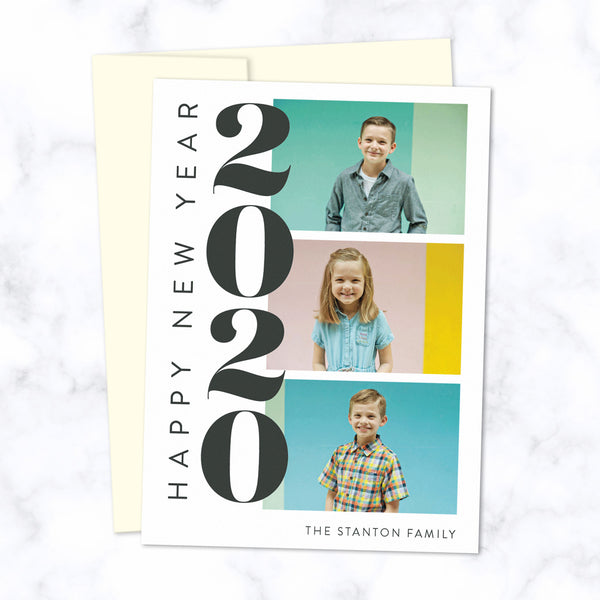 Custom 2020 New Year Cards with Three Family Photos with Cream Envelopes and Bold Stacked 2020 Typographic Design