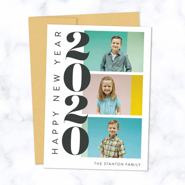 Custom 2020 New Year Cards with Three Family Photos with Gold Envelopes and Bold Stacked 2020 Typographic Design