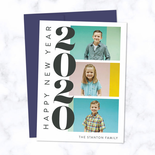 Custom 2020 New Year Cards with Three Family Photos with Navy Blue Envelopes and Bold Stacked 2020 Typographic Design