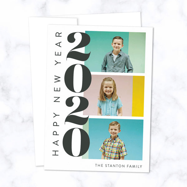 Custom 2020 New Year Cards with Three Family Photos with White Envelopes and Bold Stacked 2020 Typographic Design