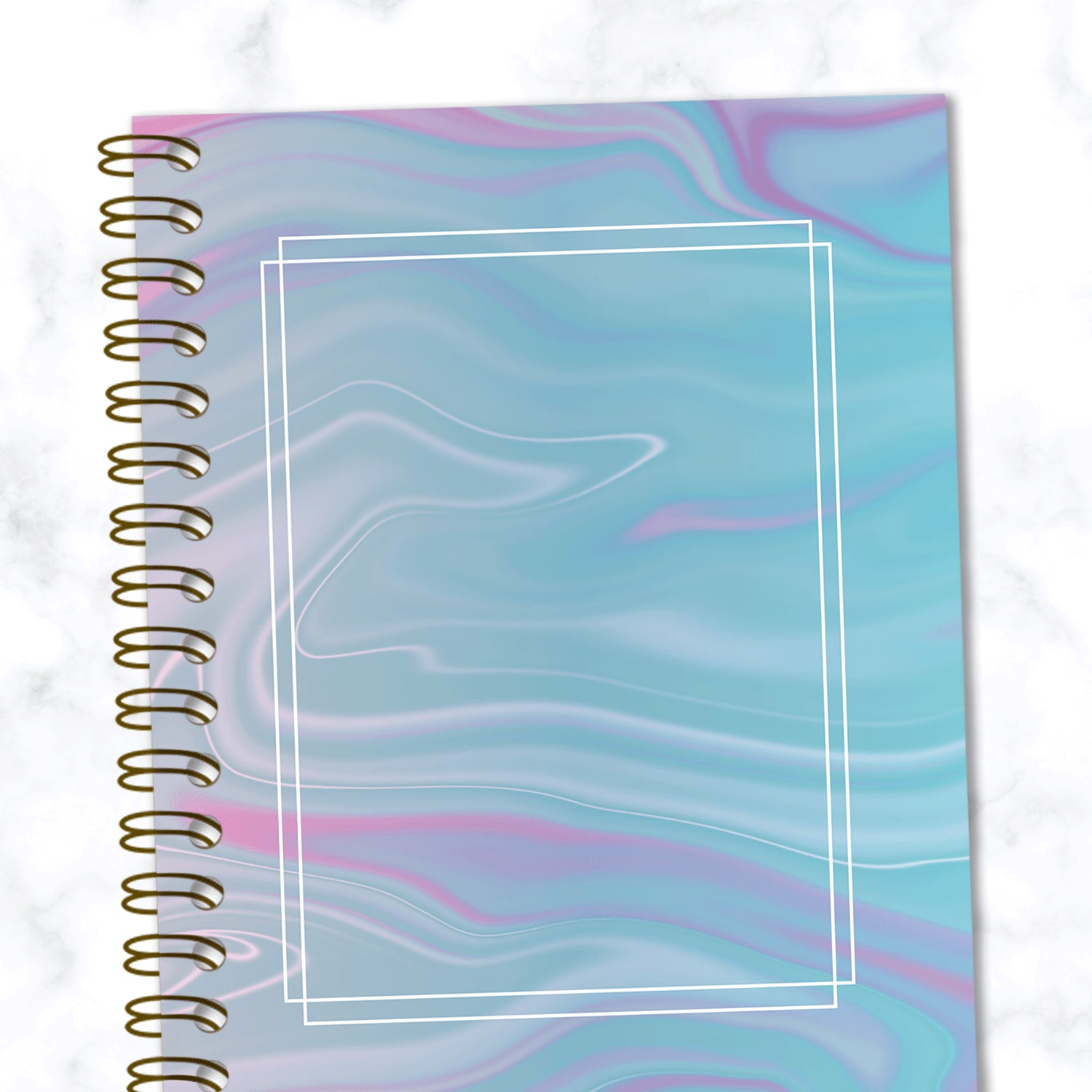 Blue and Pink Abstract Marbled Dot Grid Spiral Notebook - Close up View