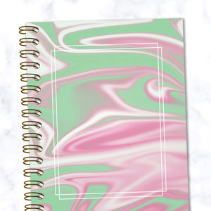 Hard Cover Spiral Notebook - Abstract Liquid Marble Design - Green and Pink - Front Cover Close up View