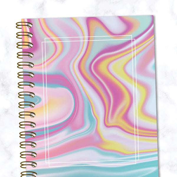 Hard Cover Spiral Notebook - Abstract Liquid Marble Design - Yellow/Pink/Blue - Front Cover Close Up View
