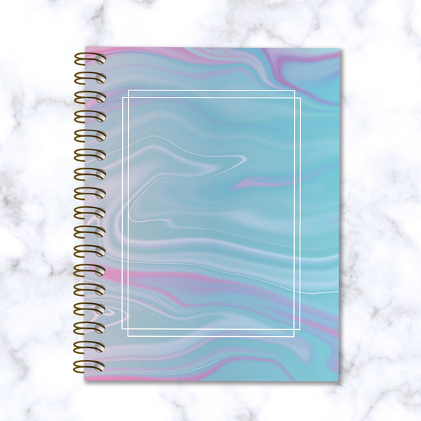 Hard Cover Spiral Notebook - Abstract Liquid Marble Design - Blue and Purple - Front Cover