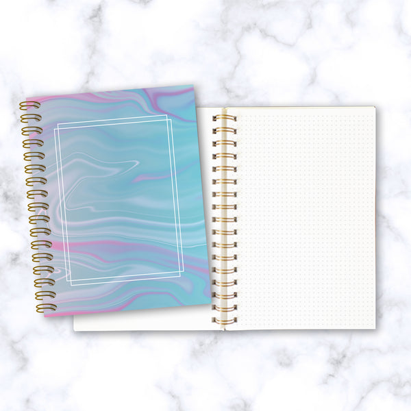 Hard Cover Spiral Notebook - Abstract Liquid Marble Design - Blue and Purple - Front & Inside Pages