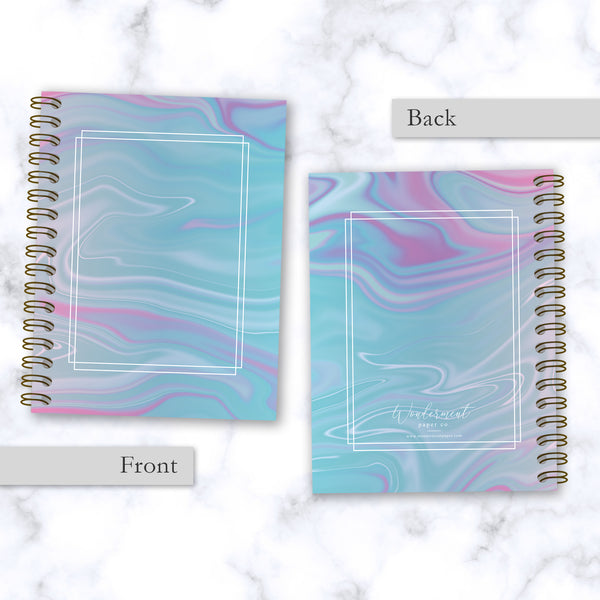 Hard Cover Spiral Notebook - Abstract Liquid Marble Design - Blue and Purple - Front and Back