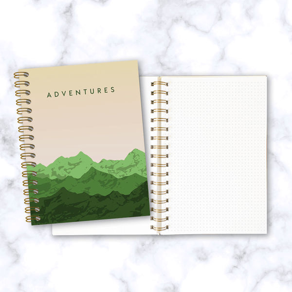Adventures-Mountain-Range-Travel Notebook_Front Cover and Inside Dot Grid Pages