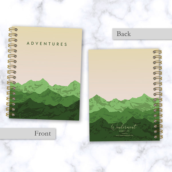 Adventures-Mountain-Range-Travel Notebook_Front and Back Cover