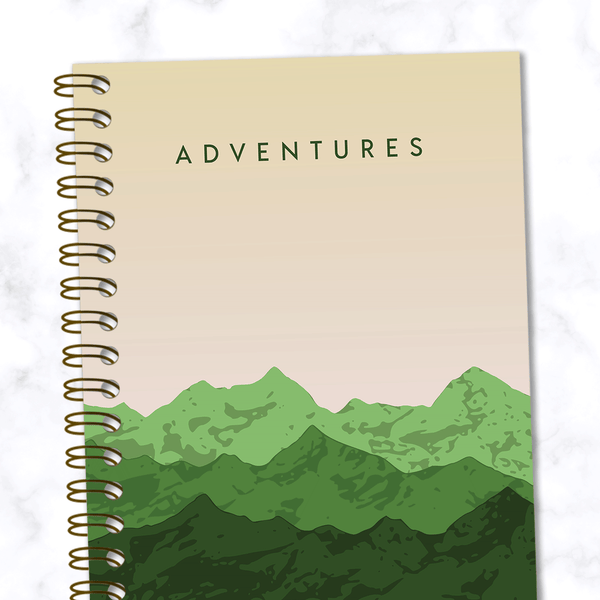 Adventures-Mountain-Range-Travel Notebook_Front Cover Close Up View