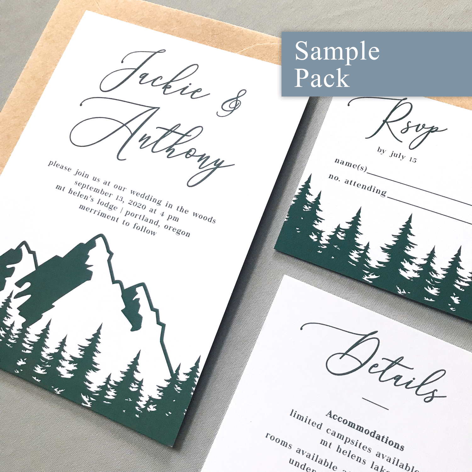 Wedding Invitation Sample Pack - The Aurora Suite - Mountains in the Woods Wedding Theme Green and Kraft