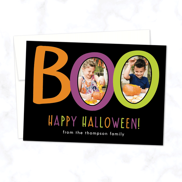 Boo! Custom Halloween Photo Card with Two Photos - with Black Background and White Envelope