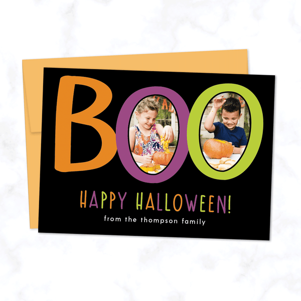 Boo! Custom Halloween Photo Card with Two Photos - with Black Background and Orange Envelope