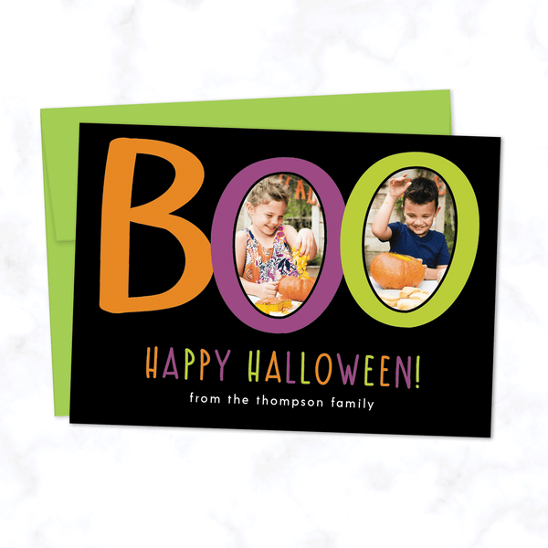 Boo! Custom Halloween Photo Card with Two Photos - with Black Background and Lime Green Envelope