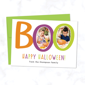 Boo! Custom Halloween Photo Card with Two Photos - with White Background and Lime Green Envelope